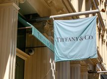 Tiffany`s banner. New York, September 25, 2017: Tiffany`s banner is suspended above the entrance to their store in SoHo royalty free stock photo