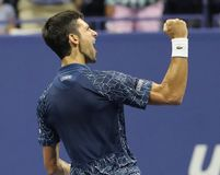 13-time Grand Slam champion Novak Djokovic of Serbia celebrates victory after his 2018 US Open semi-final match Royalty Free Stock Images