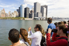 Tourists on Staten Island Ferry Stock Photo
