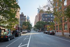 Tribeca district empty street in the morning in New York Stock Photography