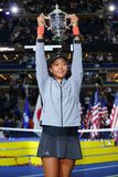 2018 US Open champion Naomi Osaka of Japan of United States posing with US Open trophy during trophy presentation Royalty Free Stock Photography