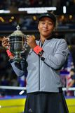 2018 US Open champion Naomi Osaka of Japan of United States posing with US Open trophy during trophy presentation Royalty Free Stock Photo