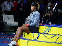 2018 US Open champion Naomi Osaka of Japan of United States posing with US Open trophy during trophy presentation Royalty Free Stock Image