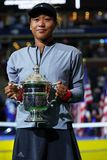 2018 US Open champion Naomi Osaka of Japan of United States posing with US Open trophy during trophy presentation Royalty Free Stock Photos