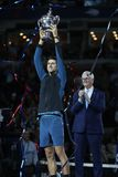 2018 US Open champion Novak Djokovic of Serbia posing with US Open trophy during trophy presentation after his final match victory Royalty Free Stock Photography