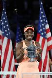 US Open 2017 champion Sloane Stephens of United States posing with US Open trophy during trophy presentation after her final match Stock Photography