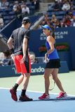 US Open 2017 mixed doubles champions Jamie Murray of Great Britain and Martina Hingis of Switzerland in action during final match Stock Photography
