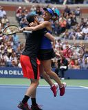 US Open 2017 mixed doubles champions Jamie Murray of Great Britain and Martina Hingis of Switzerland celebrates victory Royalty Free Stock Photography