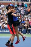 US Open 2017 mixed doubles champions Jamie Murray of Great Britain and Martina Hingis of Switzerland celebrates victory Stock Photo