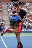 US Open 2017 mixed doubles champions Jamie Murray of Great Britain and Martina Hingis of Switzerland celebrates victory Stock Images