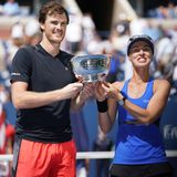 US Open 2017 mixed doubles champions Jimmy Murray of Great Britain and Martina Hingis of Switzerland during trophy presentation Royalty Free Stock Image