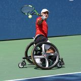 US Open 2017 Wheelchair Men`s Singles champion Stephane Houdet of France in action during Wheelchair Men`s Singles semifinal Stock Image