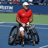 US Open 2017 Wheelchair Men`s Singles champion Stephane Houdet of France in action during Wheelchair Men`s Singles semifinal Royalty Free Stock Image
