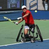 US Open 2017 Wheelchair Men`s Singles champion Stephane Houdet of France in action during Wheelchair Men`s Singles semifinal Stock Photography