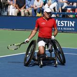 US Open 2017 Wheelchair Men`s Singles champion Stephane Houdet of France in action during Wheelchair Men`s Singles semifinal Royalty Free Stock Photography