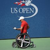 US Open 2017 Wheelchair Men`s Singles champion Stephane Houdet of France in action during Wheelchair Men`s Singles semifinal Royalty Free Stock Images