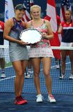 US Open 2017 women`s doubles finalists Lucie Hradecka and Katerina Siniakova of Czech Republic during trophy presentation Stock Photos