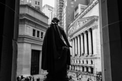 NEW YORK - SEPTEMBER 01, 2018: View of New York Stock Exchange from the Federal Hall , New York City, USA. NEW YORK CITY- SEPTEMBER 01, 2018: View of New York royalty free stock photography