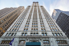 Woolworth Building skyscraper low angle view in New York. NEW YORK - SEPTEMBER 8: Woolworth Building skyscraper low angle view on September 8, 2017 in New York Stock Image