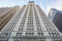 Woolworth Building skyscraper low angle view in New York. NEW YORK - SEPTEMBER 8: Woolworth Building skyscraper low angle view on September 8, 2017 in New York Stock Photography