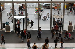New York Shoppers. The busy entrance of Time Warner Center shops at Columbus Circle in Manhattan