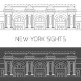 New York sights. Metropolitan Museum of Art. New York sights. Vector attractions of New York city in thin line icon style in black and white for design of Stock Photo