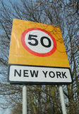 New York sign. Combined speed limit and boundary sign for the village of New York, Lincolnshire, England stock photo