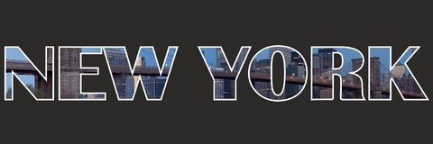 New York Sign Text inside text buildings. New york sign text buildings background black city usa bridge Stock Photo