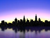 New York silhouette. New York Skyline over sunset Royalty Free Stock Photos