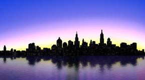 New York silhouette. New York Skyline over sunset Royalty Free Stock Images