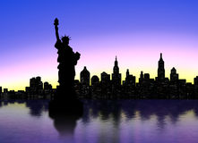 New York silhouette. New York Skyline over sunset Royalty Free Stock Photo