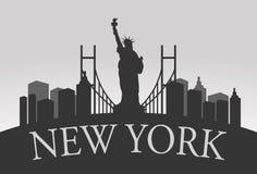 New York Silhouette Landscape Stock Photo