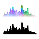 New York sity vector. New York sity skyline, vector silhouettes: black and colored vector illustration