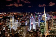 New York skyscrapers by night Royalty Free Stock Photo