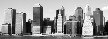 New York skyline. Black and white Manhattan skyline from Brooklyn, skyscrapers in New York Stock Images