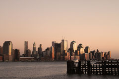 New York Skyline. The skyline of Manhattan in New York City during sunset royalty free stock images