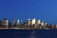 New York Skyline. The skyline of Manhattan in New York City at night Stock Photo