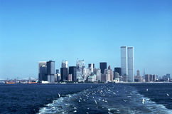 New York Skyline in 1976. New York (Manhattan) skyline from Staten Island Ferry includes Twin Towers of World Trade Center Stock Images