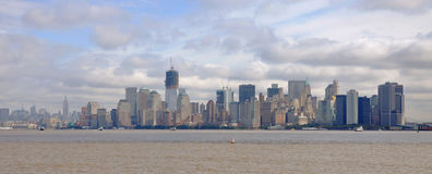 New York Skyline. New York City skyline, Manhattan South side, viewed from Liberty Island, New York City, USA Stock Images