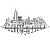 New York Skyline. Black and white vector illustration EPS 8 Stock Photography