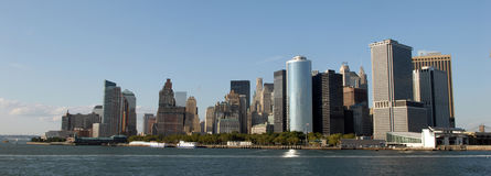 New York skyline. A panoramic shot of the skyline of New York City, along the coast Royalty Free Stock Image