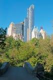 New York skyline and bridge in Central park Stock Photos