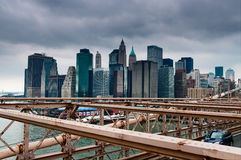 New york skyline from brooklyn bridge stock photos