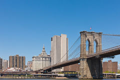 New York Skyline with Brooklyn Bridge Royalty Free Stock Image