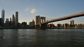 New York Skyline with Brooklyn Bridge stock footage