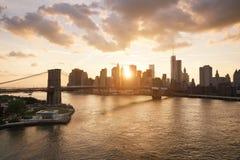 New-York skyline and Brooklyn bridge Royalty Free Stock Image
