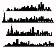 New York skyline, Chicago skyline, Miami skyline, Detroit skyline Royalty Free Stock Photography