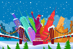 New York Skyline City Skyscraper Christmas. New York Abstract Skyline City Skyscraper Christmas Silhouette Year Flat Colorful Vector Illustration Royalty Free Stock Image