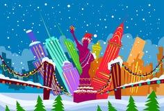 New York Skyline City Skyscraper Christmas Royalty Free Stock Image
