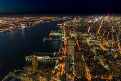 New York Skyline Cityview Manhatten Night from World Trade Cente. Photo taken in New York USA, August 2017: New York Skyline Cityview Midtown Manhatten Night stock image
